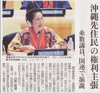 沖縄先住民の権利主張s糸数議員、国連で演説.jpg